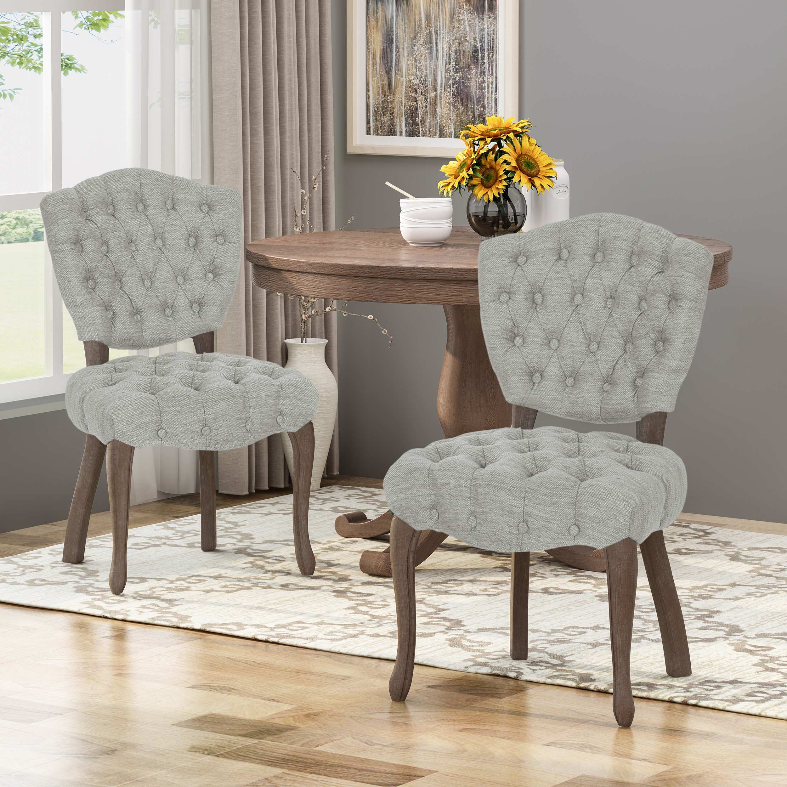 Case Tufted Dining Chair With Cabriole Legs Set Of 2 Light Gray And Brown Wash Finish Walmart Com Walmart Com