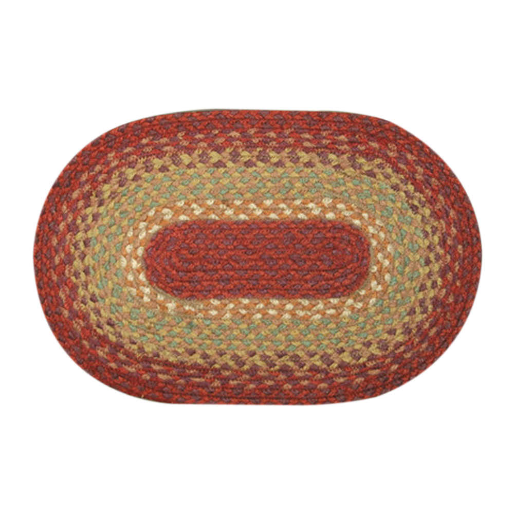 "Earth Rugs MS-104 Oval Swatch, 10 x 15"""", Burg/Maroon/Sunflower"