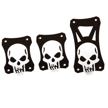 - Universal Black Silver Skull Ryder Aluminum Manual Gas Brake Crutch Pedal Pads