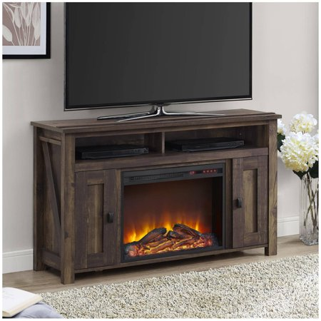 Farmington Electric Fireplace TV Console for TVs up to 50u0022 - Dark Rustic Pine - Altra