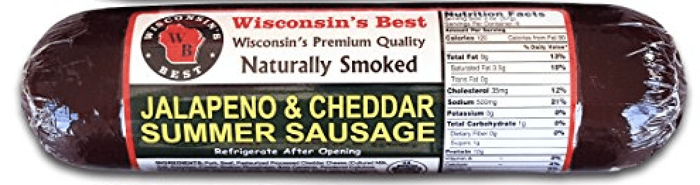 Wisconsins Best Jalapeno and Cheddar Summer Sausage, Case of 12 � 12 oz summer sausages by Wisconsin's Best, LLC