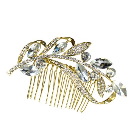 Leaf Comb - Crystal Marquis Leaves and Rhinestone Vine Hair Comb Gold