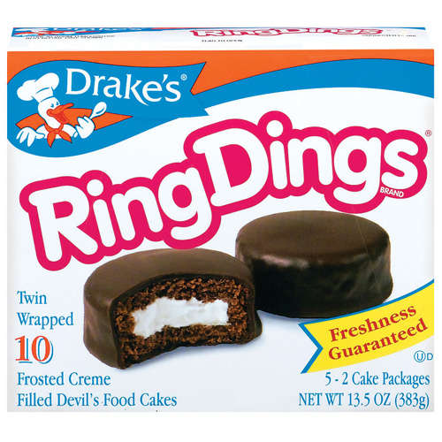 Drake's: Devil's Food Cakes Frosted Creme Filled 10 Ct Ring Dings, 13.5 Oz