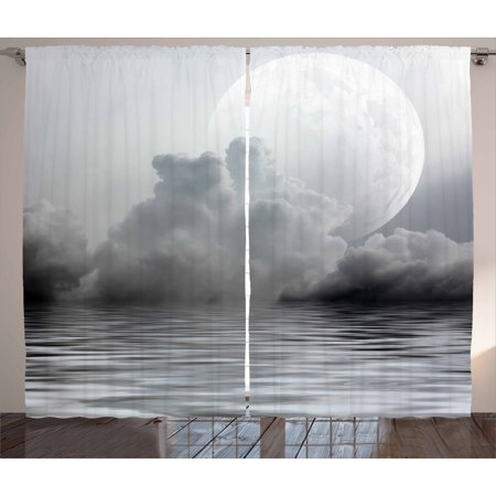 Moon Curtains 2 Panels Set, Misty Air in the Ocean Monochrome Picture with Full Moon Natural Imagery, Window Drapes for Living Room Bedroom, 108W X 90L Inches, Black Pale Grey White, by
