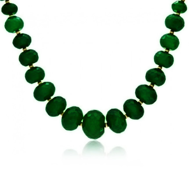 Bling Jewelry Gold Plated Faceted Green Simulated Jade Graduated Necklace