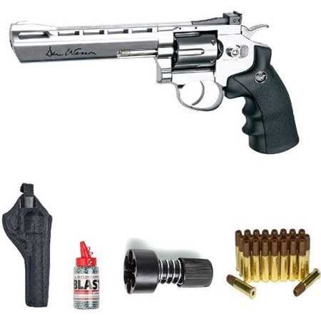 ASG Dan Wesson  BB Air Gun with Holster/Cartridges/Extra BBs/Speed Loader, Silver,