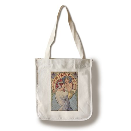 Los Cigarillos Paris Vintage Poster (artist: Mucha, Alphonse)  c. 1897 (100% Cotton Tote Bag - Reusable)
