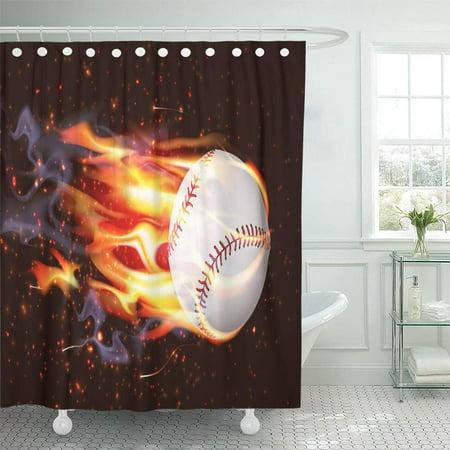 PKNMT Abstract Clean Baseball Speeding Through The Air on Fire Activity  Ball Burn Burnt Waterproof Bathroom Shower Curtains Set 66x72 inch