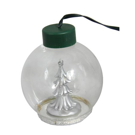 4 led lighted glass globe silver plated holiday tree christmas ball ornament - Silver Plated Christmas Tree Decorations