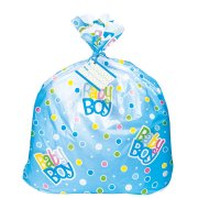 (3 Pack) Jumbo Plastic Polka Dot Boy Baby Shower Gift Bag, 44 x 36 in, Blue, 1ct