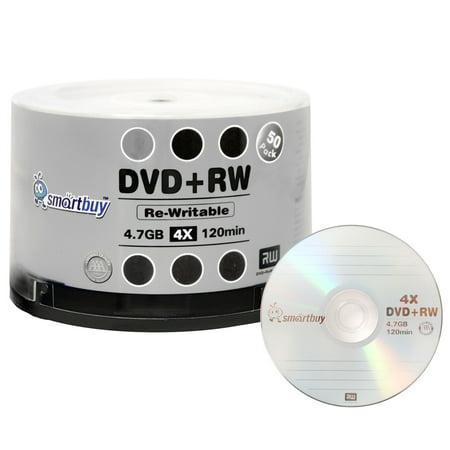 Platinum Dvd Rw (50 Pack Smartbuy Blank DVD+RW 4x 4.7GB 120Min Branded Logo Rewritable DVD Media Disc)