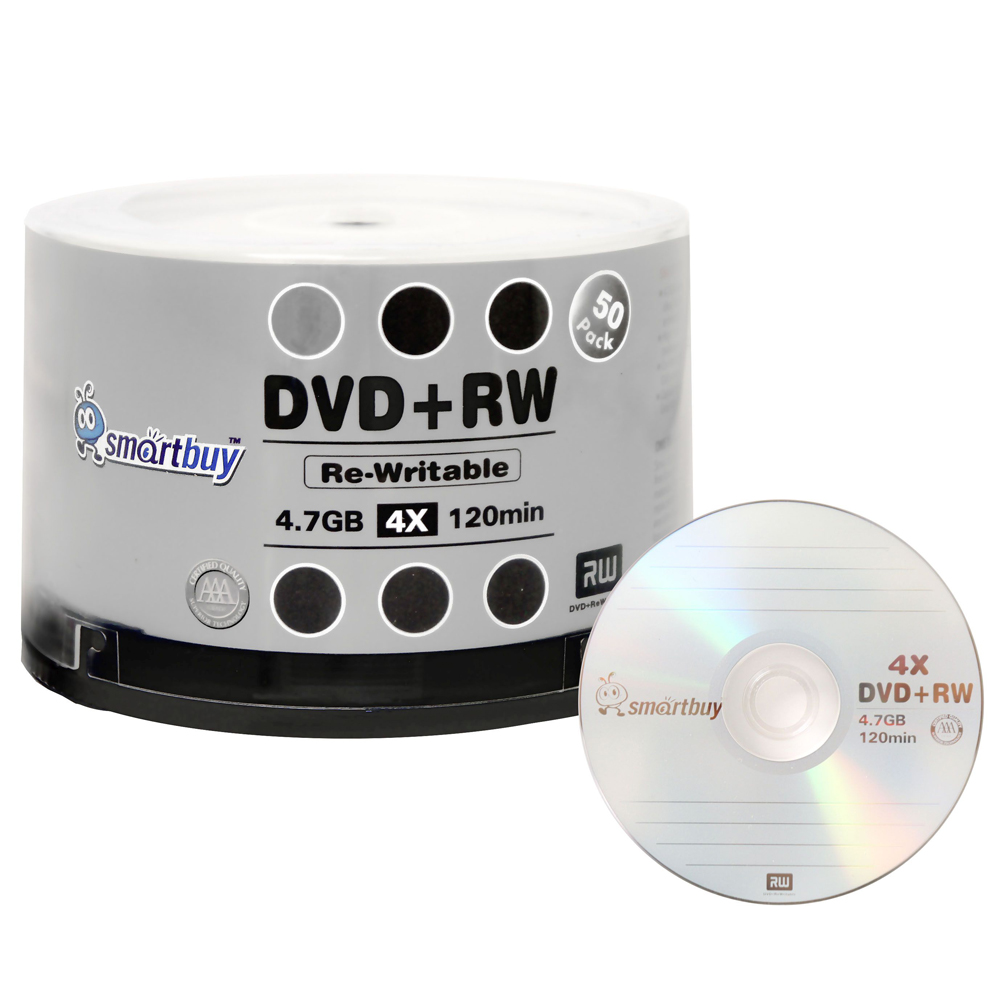 50 Pack Smartbuy Blank DVD+RW 4x 4.7GB 120Min Branded Logo Rewritable DVD Media Disc
