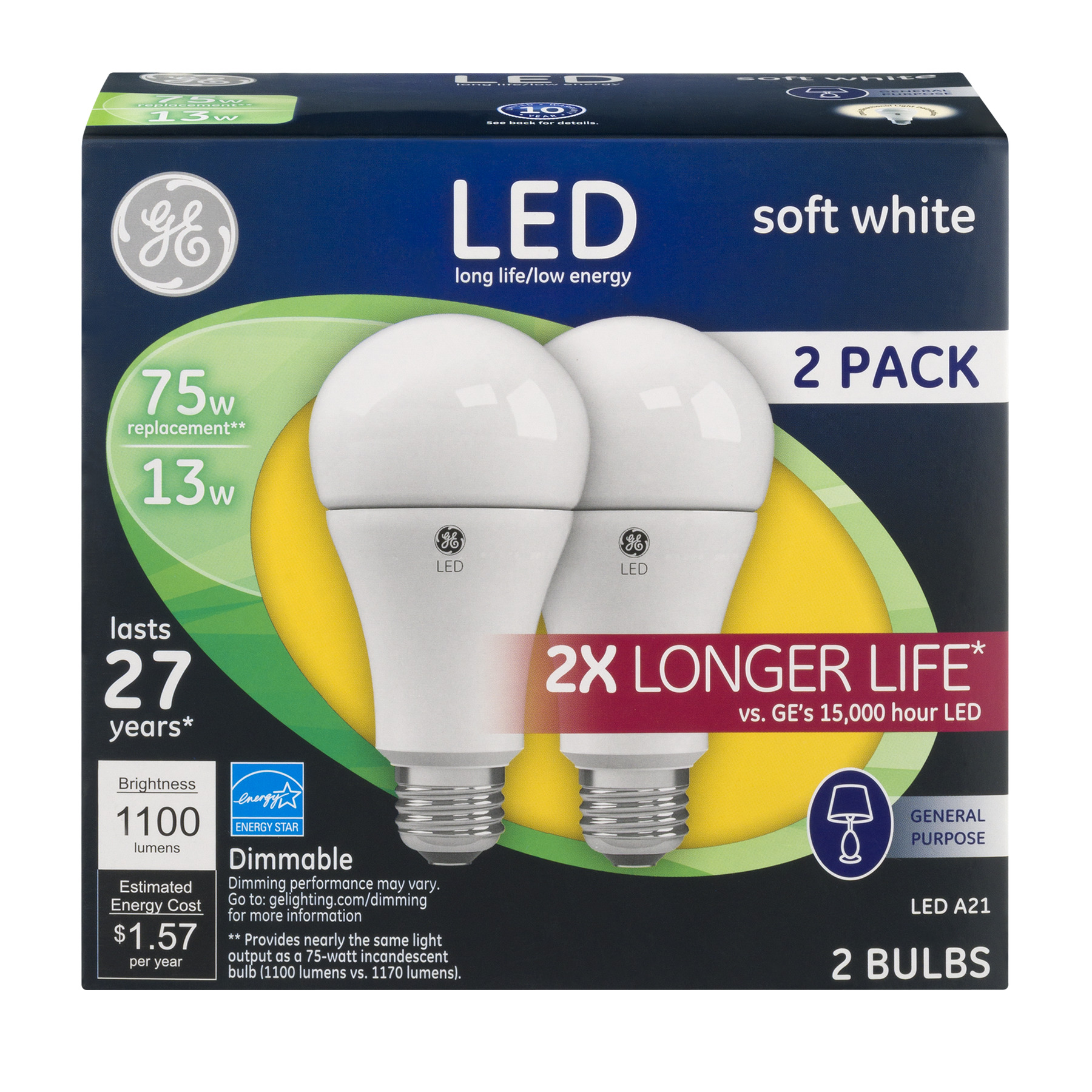 GE LED General Purpose Bulbs 75 W Soft White, 2.0 PACK