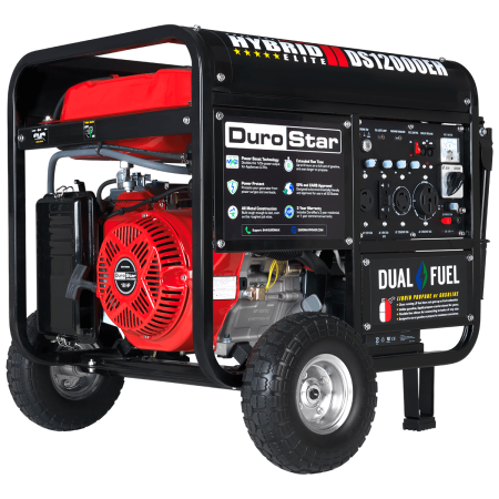DuroStar 12000-Watt 18Hp Hybrid Dual Fuel Powered Portable Electric Start Generator with Wheel Kit (Hydrogen Gas Generator Kit)