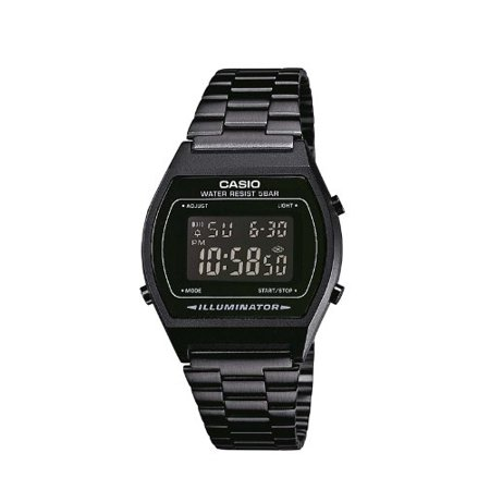 Retro Illuminator Digital Black Stainless Steel 50M B640WB-1B Watch