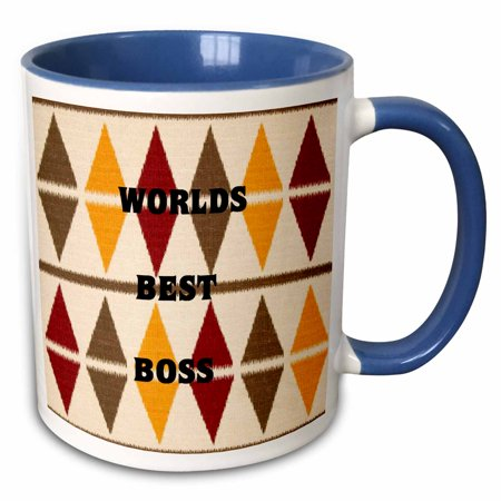 3dRose Worlds Best Boss On Olive Red n Mustard - Two Tone Blue Mug, 11-ounce