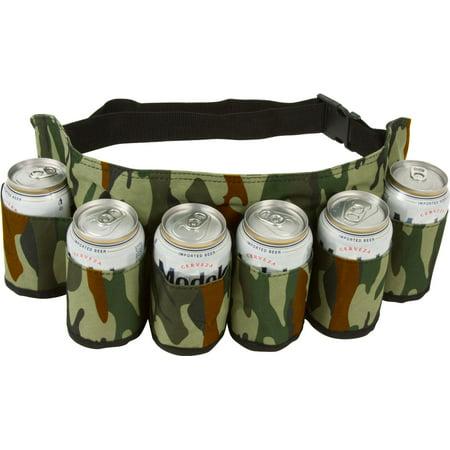 Redneck 6 Pack Beer & Soda Can Holster Belt - Camouflage