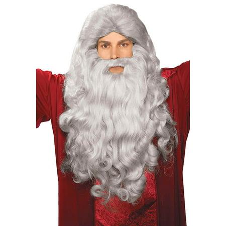 Biblical Wig & Beard Costume Set - Grey Costume Wig