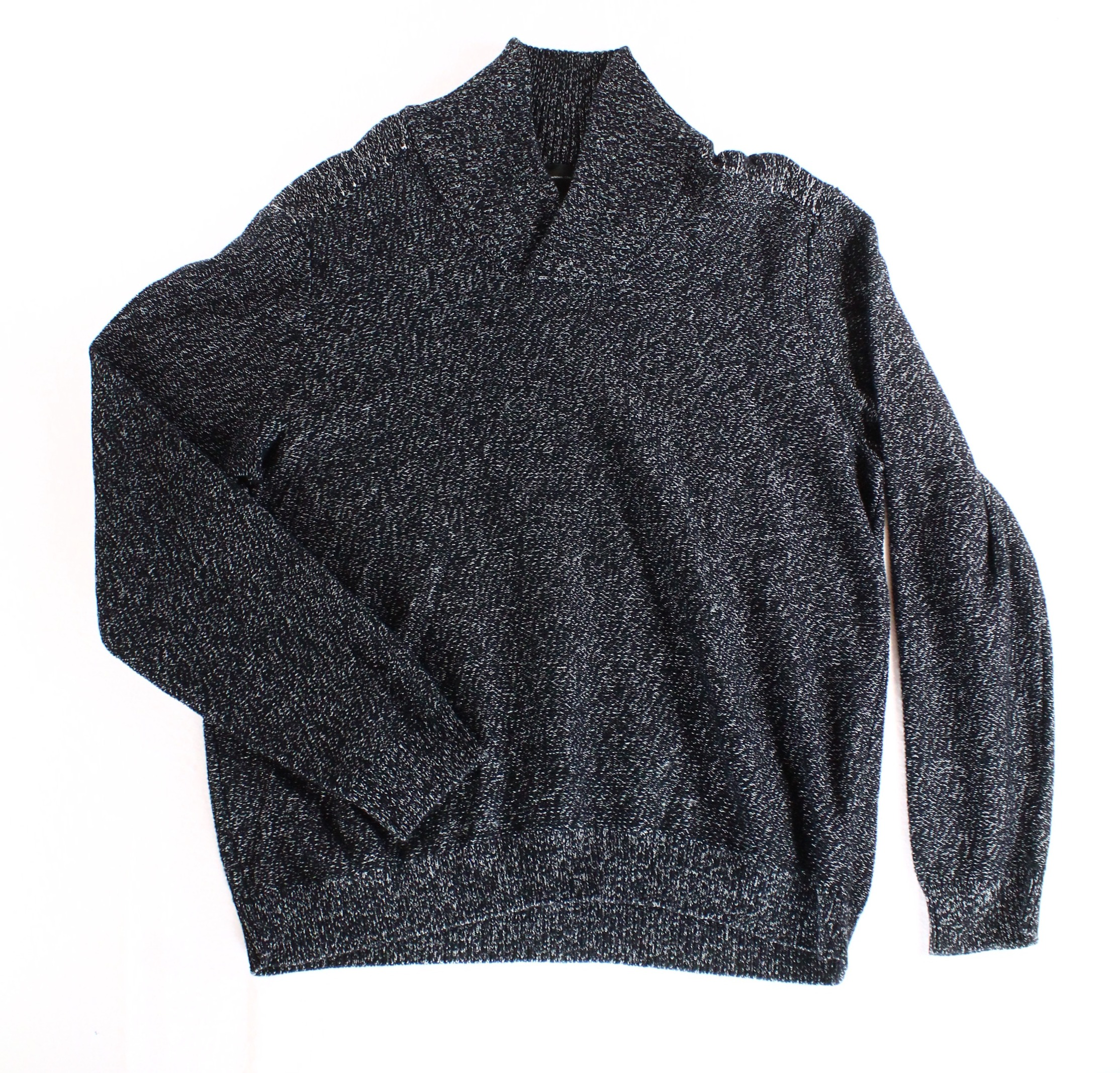 INC NEW Black Gray Marled Ribbed Shawl Collar Mens Size 2XL Pullover Sweater