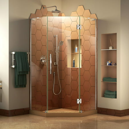 DreamLine Prism Plus 34 in. x 72 in. Frameless Neo-Angle Hinged Shower Enclosure in (Neo Single Door Shower Enclosure)