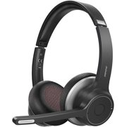 Mpow Bluetooth Headset V5.0 with Dual Microphone, Wireless Noise Canceling PC Headphones, Black