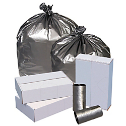 """Highmark™ Linear Low Density Can Liners, 1.7-mil, 56 Gallons, 43"""" x 47"""", Silver, Box Of 50"""