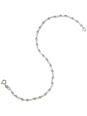 """Women's Sterling Silver 026 Bead Anklet, 10"""""""