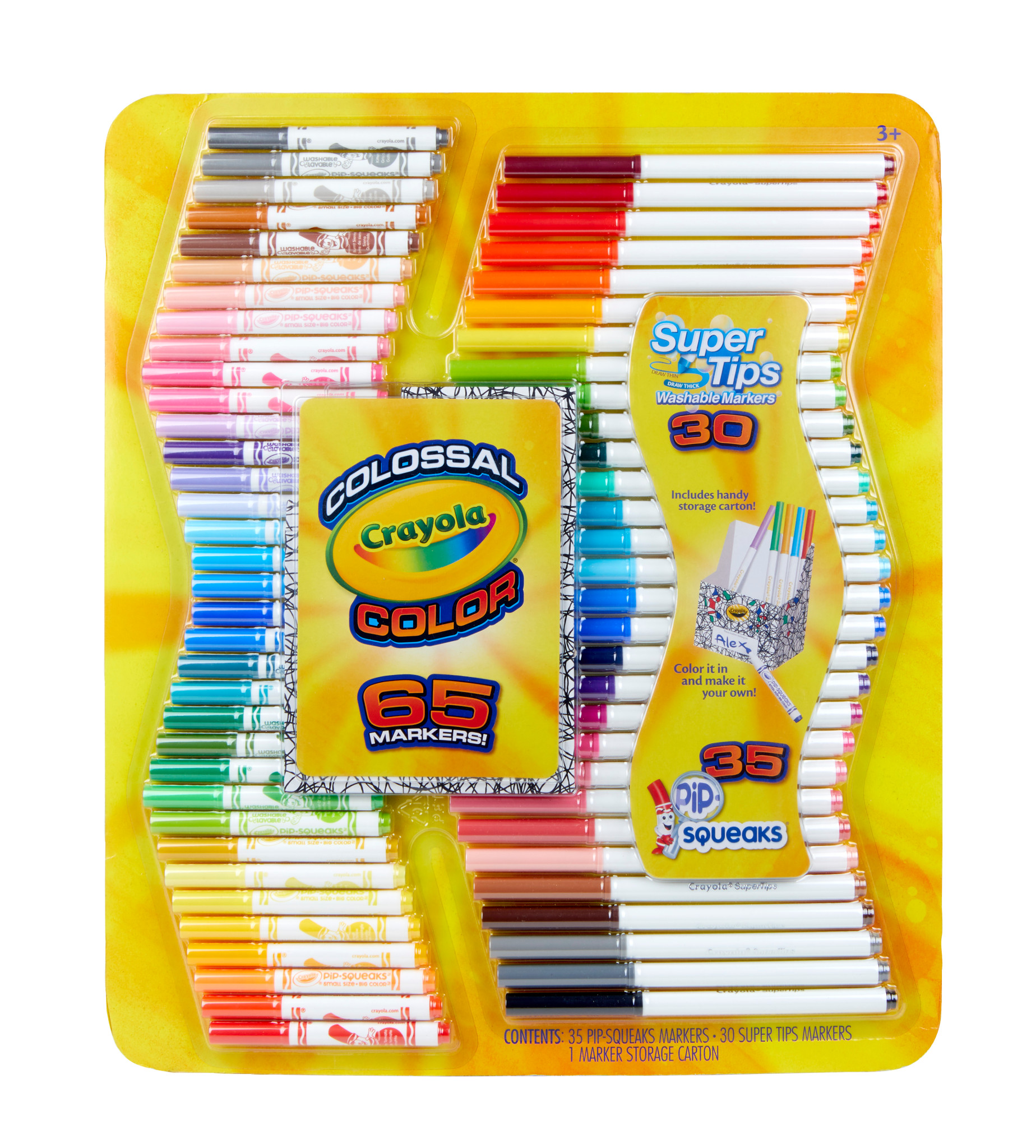 Crayola Colossal Color Kit, Super Tips and Pipsqueaks Markers Set, 65 Pieces