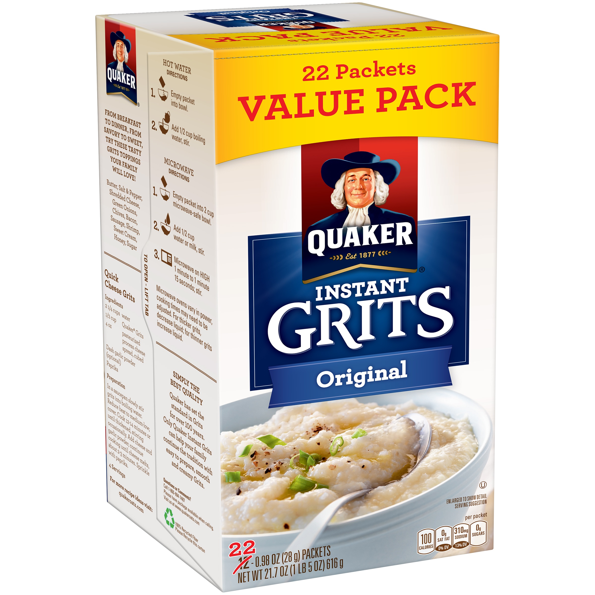 Quaker Original Instant Grits Value Pack, 22 count, 0.98 oz Packets