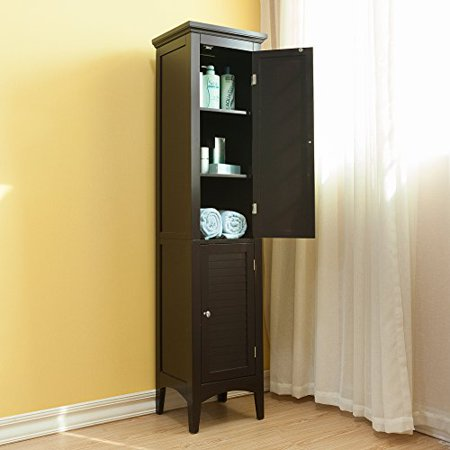 Modern Espresso Wood Crown Molded Top 2 Door Linen Tower Storage Cabinet with 4 Shelves and Shaker Legs - Includes Modhaus Living Pen