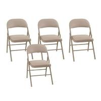 Vinyl Upholstered Folding Steel Frame Chair Antique Linen (4-pack)