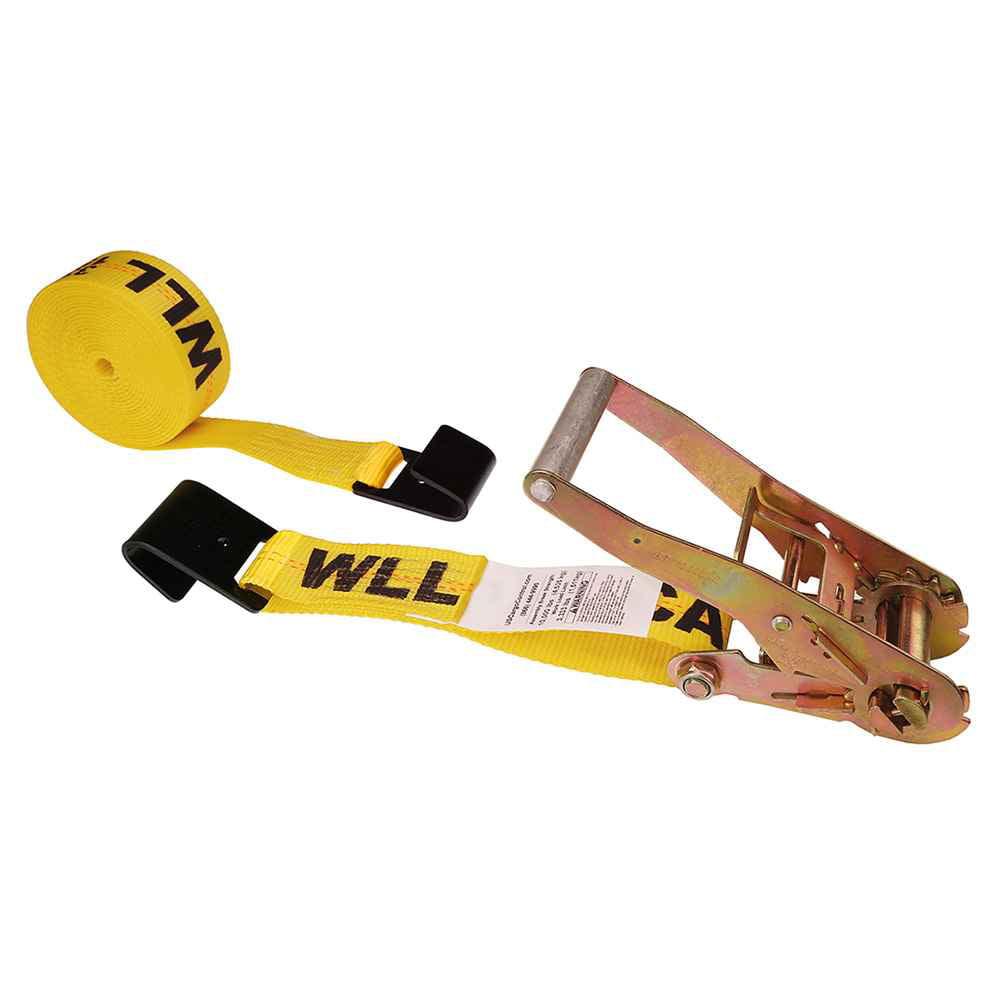 "2"" x 12' Yellow Ratchet Strap w/ Black Flat Hook"