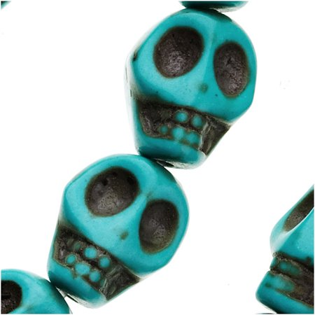 Turquoise Magnesite (Dyed)  Gemstone Beads Carved Skulls 10x12mm (10)