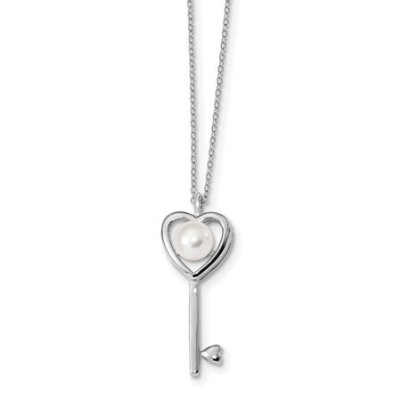 925 Sterling Silver Rh 8mm White Button Freshwater Cultured Pearl Key Chain Necklace Pendant Charm S/love