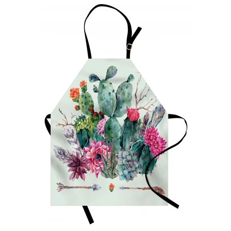 Cactus Apron Spring Garden with Boho Style Bouquet of Thorny Plants Blossoms Arrows Feathers, Unisex Kitchen Bib Apron with Adjustable Neck for Cooking Baking Gardening, Multicolor, by