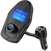 Nulaxy KM24 Bluetooth FM Transmitter Wireless Hands Free Car Kit Power On/Off Button With Charger Play USB Flash Drive Micro SD Card Aux Input Output - 2018 Model,1.44', Black