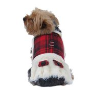 Red Dog Puppy Pet Plaid Shirt Clothes warm winter xmas checkered design - 2 Extra Small (Gift for Pet)