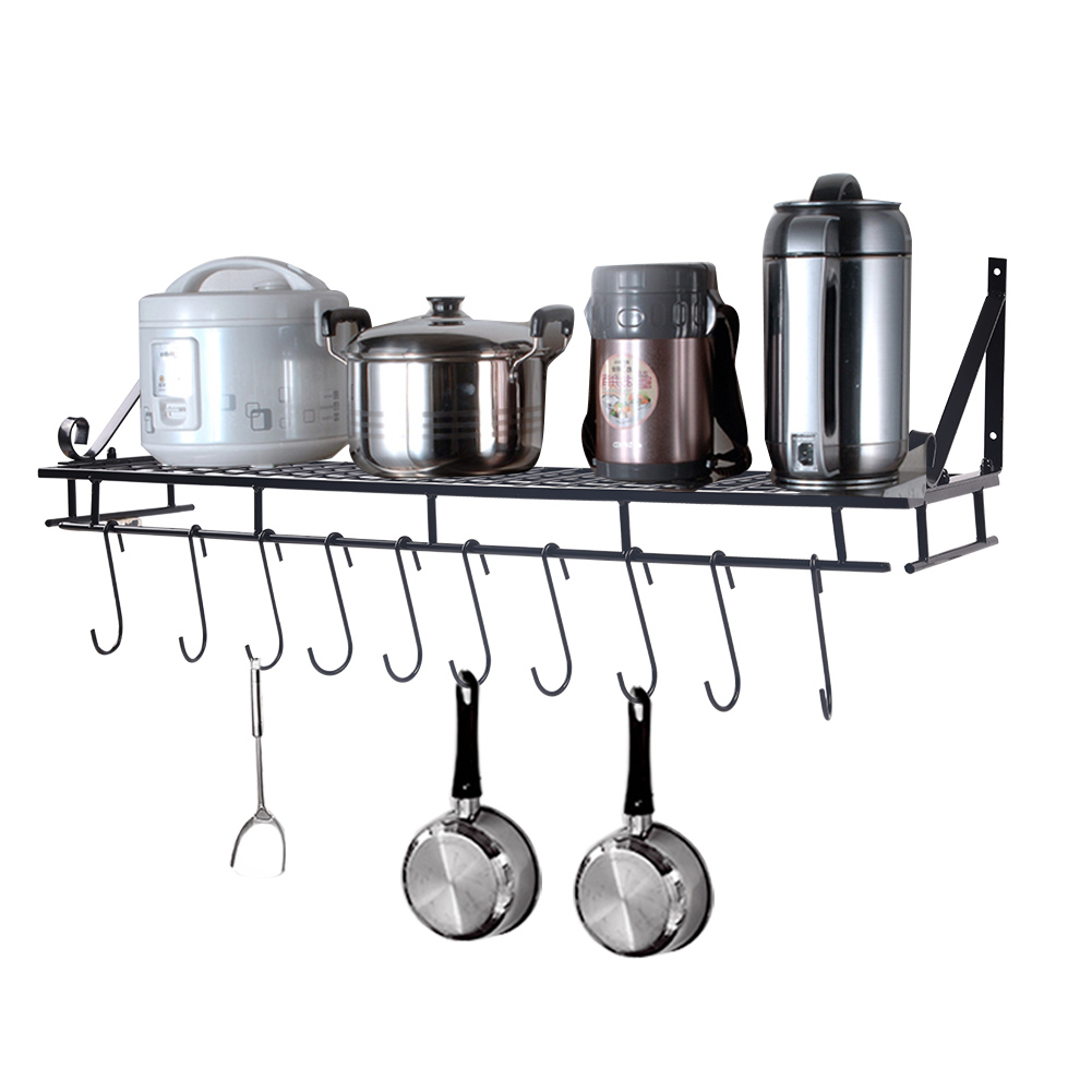 Akozon Wall Mounted Square Grid Pot Pan Rack, Kitchen Cookware Storage  Organizer with 10 Hooks, Pot Holders Wall Storage Shelves Pot Pan Organizer  ...