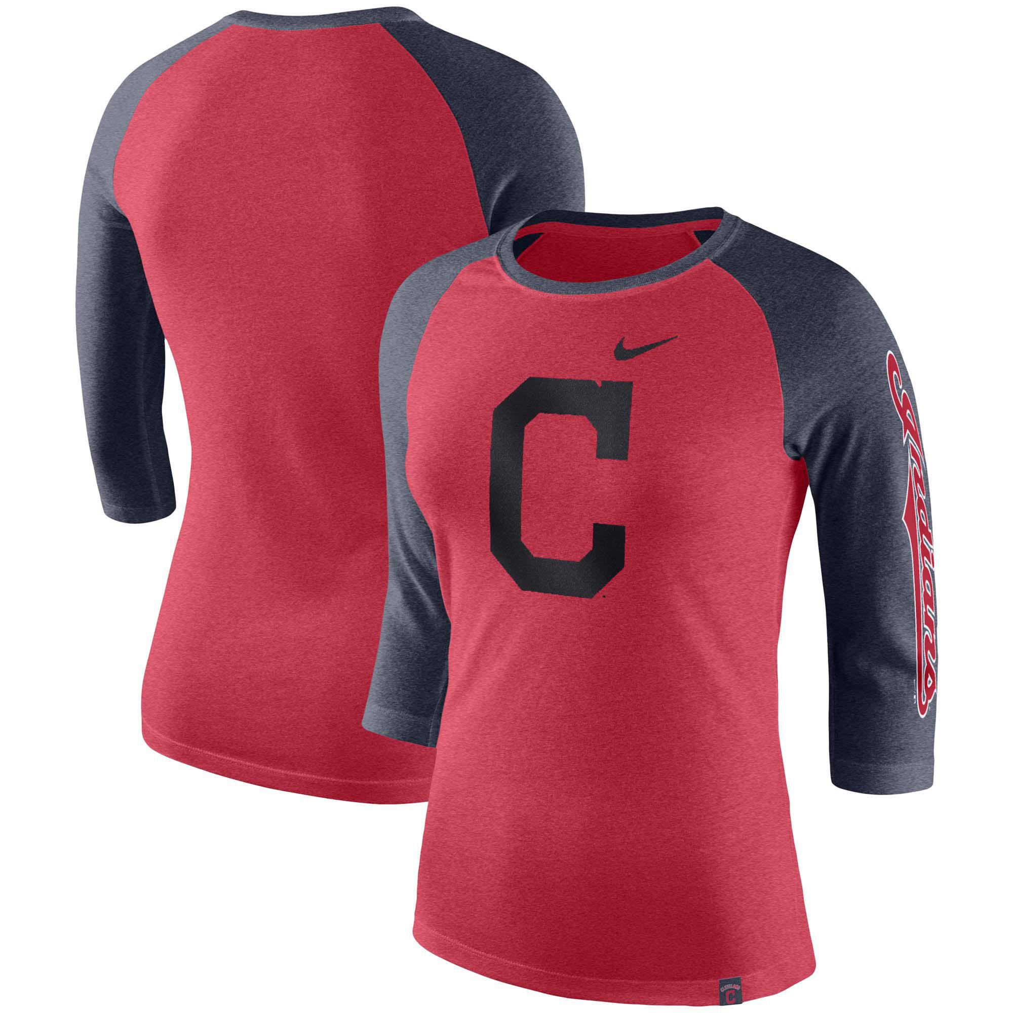 Cleveland Indians Nike Women's Tri-Blend 3/4-Sleeve Raglan T-Shirt - Red
