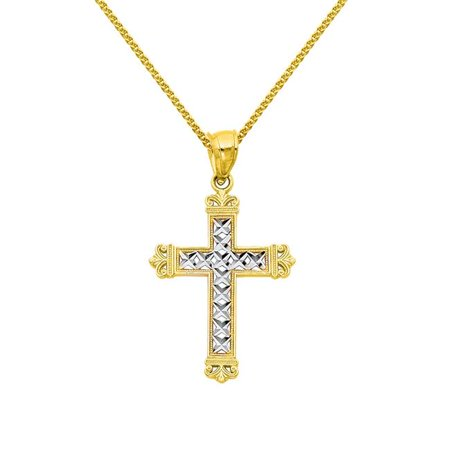 Precious Stars Jewelry 14k Two-tone Gold Fancy Cross Religious Pendant with 1.5-mm Flat Wheat Chain - image 1 de 1