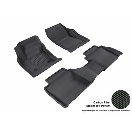 3D MAXpider 2013-2016 Lincoln MKZ Front & Second Row Set All Weather Floor Mats in Black with Carbon Fiber Look