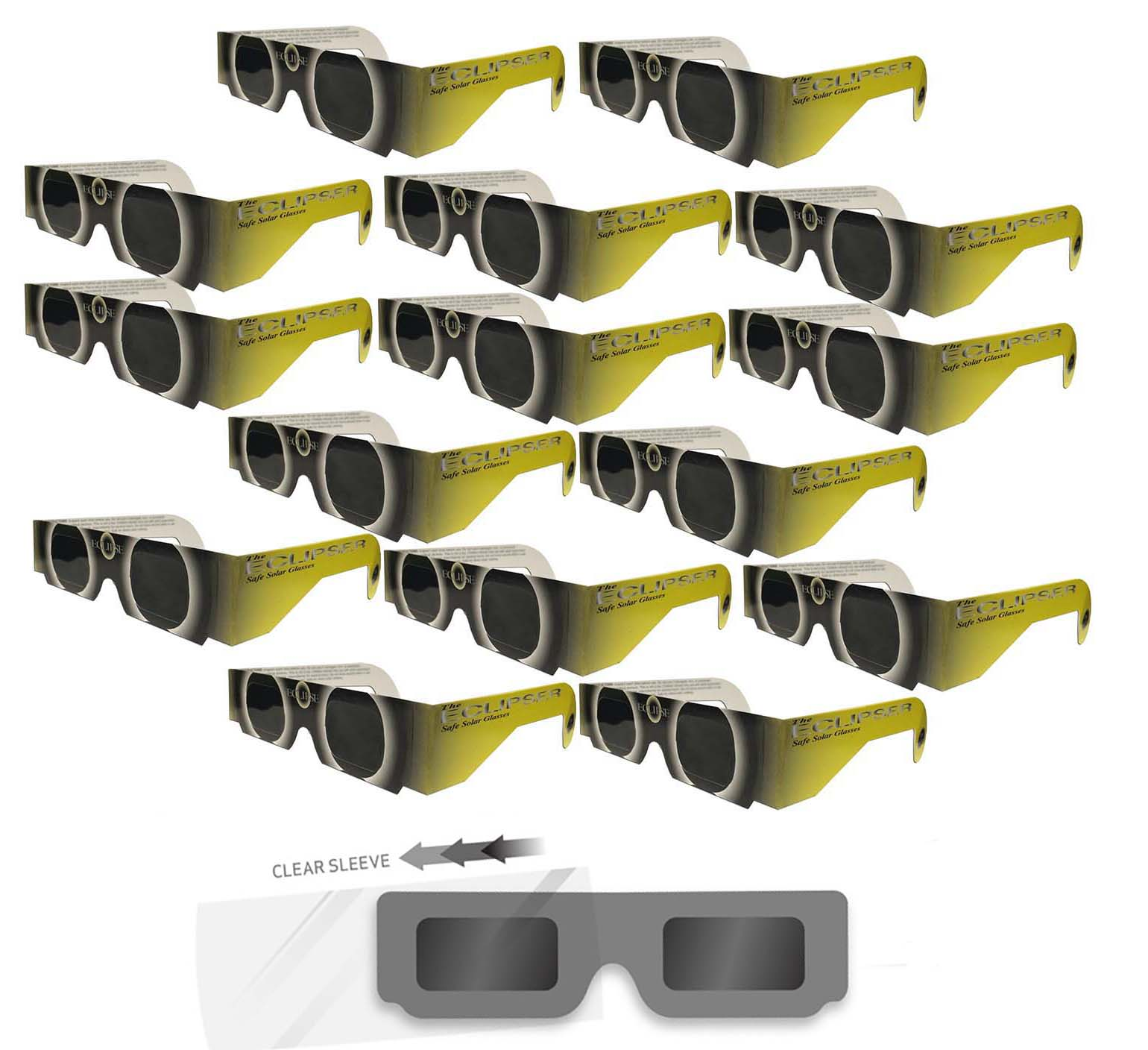 "Solar Eclipse Glasses - ISO Certified, CE Approved- 15 Pairs Sleeved - ""Yellow Sun"" - Solar Shades"