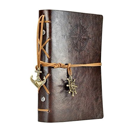 5.7Inches x4.5Inches Vintage Retro Leather Cover Notebook Journal Blank String Nautical Classic PU Leather Notebook for Diary, Travel journal and Note ()