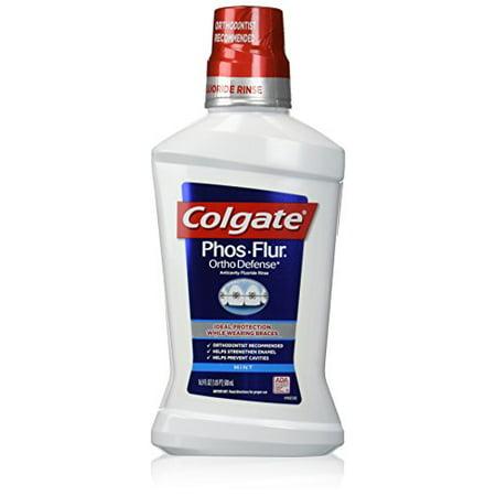 4 Pack - Colgate Phos-Flur Anti-Cavity Fluoride Rinse, Cool Mint 16 oz Each