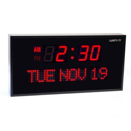 Ivation Big Oversized Digital Blue LED Calendar Clock with Day and Date - Shelf or Wall Mount (12 inches - Red - Big Clock Rapper