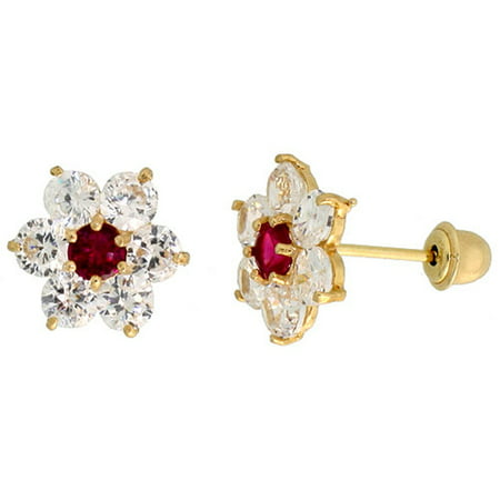 - 14k Gold Flower Stud Earrings