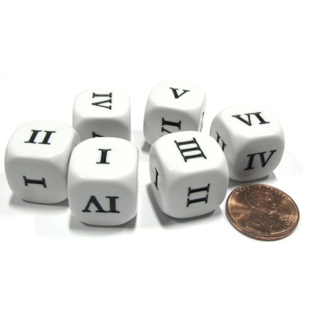 Koplow Games Set of 6 Roman Numerals I-VI (1-6) 16mm Six-Sided Dice- White with Black Numbers #09966