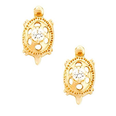 4e4994408 14K Yellow Gold Turtle Stud Kids Earrings With Safety Screw Backs  (April-Cubic Zirconia