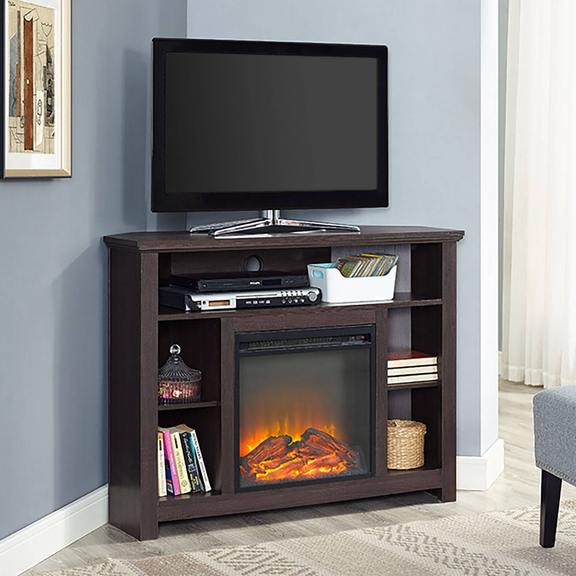 "44"" Wood Corner Tall Fireplace TV Stand for TVs up to 60"" - Espresso ("