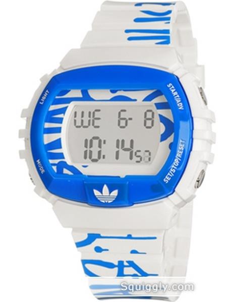 Adidas ADH6129 NYC Graffiti White Rubber Bracelet with 53mm Digital Watch NIB by Adidas